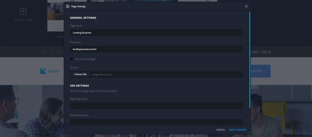 general page settings in Novi visual creator