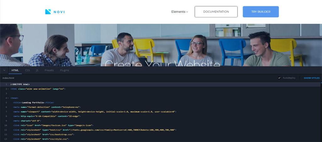 advanced code editor in Novi website builder